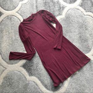 Knit Ribbed Sweater Dress Mock Neck Bodycon